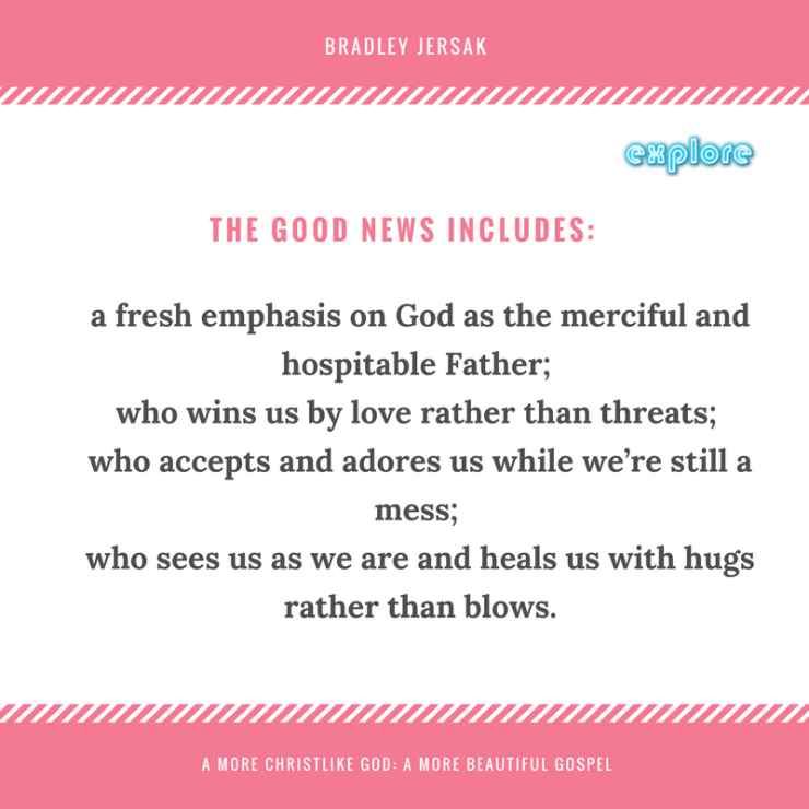 The revelation included- a fresh emphasis on God as the merciful and hospitable Father; who wins us by love rather than threats; who accepts and adores us while we're still a mess; who sees us as we are and heals.png